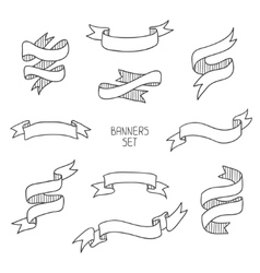 Vintage ribbon banners hand drawn set for design vector image