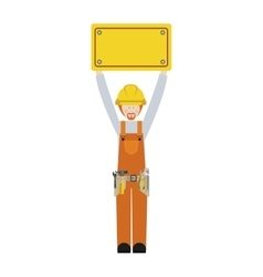 Worker with toolkit and plaque up with blond hair vector
