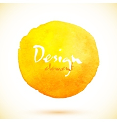 Yellow watercolor circle design element vector image