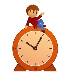 boy on clock vector image vector image