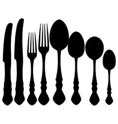 Cutlery silhouettes vector image vector image