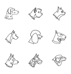Dog icons set outline style vector image vector image