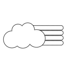 dotted shape cloud with nature rainbow design in vector image