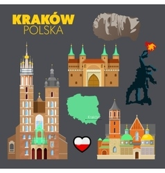 Krakow Poland Travel Doodle with Architecture vector image vector image