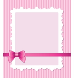 pink frame with bow vector image vector image