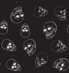 dark skulls pattern seamless texture vector image