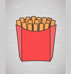 flat style french fries in paper box isolated on vector image