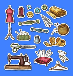 set of hand drawn sewing elements stickers vector image