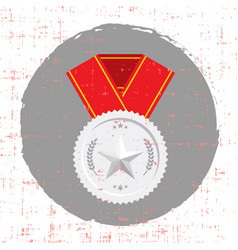 silver medal with star and red banner icon with vector image