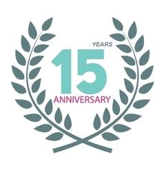 Template Logo 15 Anniversary in Laurel Wreath vector image vector image