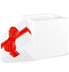 white gift box with red and gold ribbon bow vector image