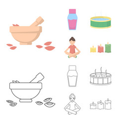 A bowl with flower petals and tolkushka a bottle vector
