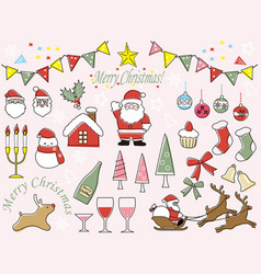 A set of assorted christmas graphic elements vector