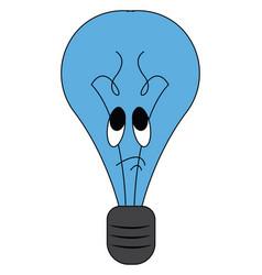 a tragic blue-colored cartoon light bulb or color vector image