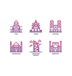 asian cities and counties landmarks icons set 6 vector image