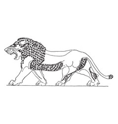 Assyrian lion is on a glazed clay slab at a royal vector