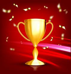 award golden cup game medal celebration vector image
