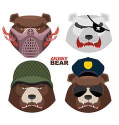 Bears set A masked bear polar bear grizzly bear vector
