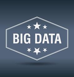 Big data hexagonal white vintage retro style label vector