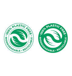 Biodegradable plastic free recyclable icon 100 vector
