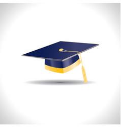 Blue education cap with golden elements vector