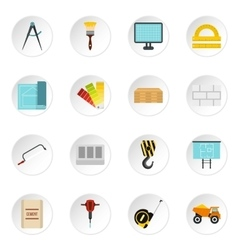 Building equipment icons set flat style vector
