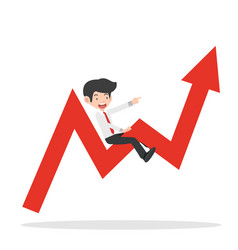 Businessman ride on graph arrow going up vector