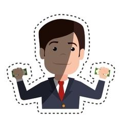 businessman with dollar bills in hands vector image