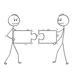 Cartoon two businessmen holding and connecting vector