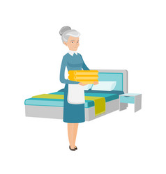 caucasian housekeeping maid with stack of linen vector image