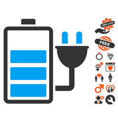 charge battery icon with valentine bonus vector image