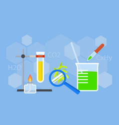 Chemistry study concept background flat style vector