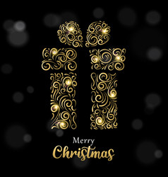 Christmas card luxury gold and black gift box vector