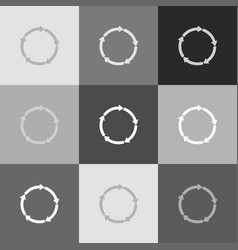 Circular arrows sign grayscale version of vector