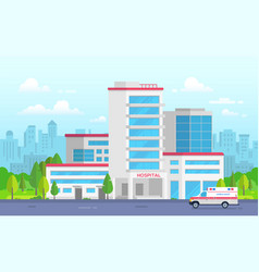 City hospital with ambulance - modern vector