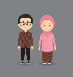Couple character wearing indonesian dress vector