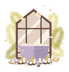 Cozy bathroom with candle panorama window vector