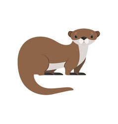 Cute brown otter funny animal character vector