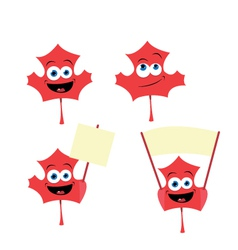 Cute maple leaf in different poses vector