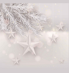 Cutout white foil paper stars on light background vector
