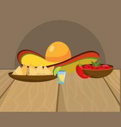 Delicious mexican food cartoon on restaurant table vector