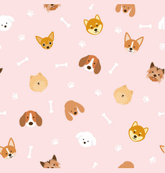 Dog breeds head seamless pattern vector