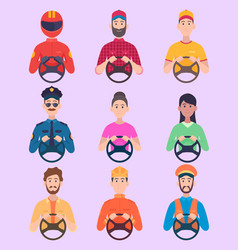 drivers avatars people holding driving wheel vector image