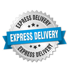Express delivery 3d silver badge with blue ribbon vector