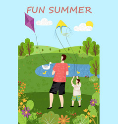 family leisure green nature fun with kite vector image