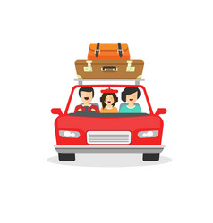 Family trip by car flat vector