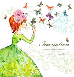 fashion girl with butterflies watercolor painting vector image