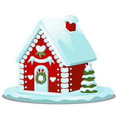 Festive cake in shape village house decorated vector