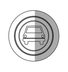 Figure emblem round front car icon vector