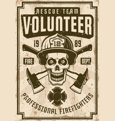 Firefighters vintage poster with skull in helmet vector